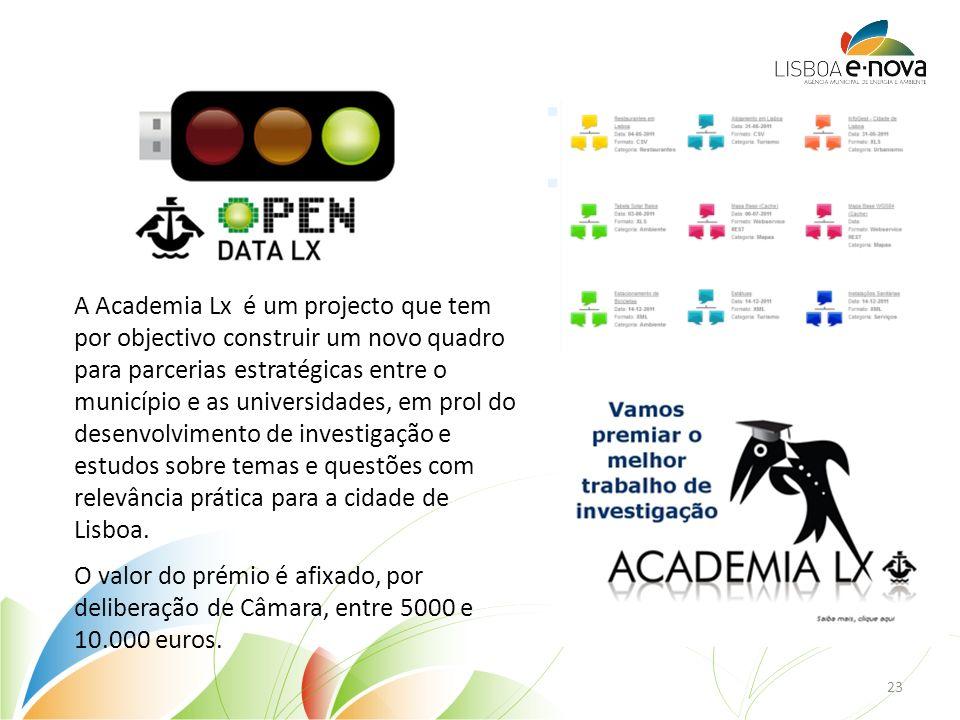 A Academia Lx é um projecto que tem por objectivo construir um novo quadro para parcerias estratégicas entre o município e as universidades, em prol do desenvolvimento de investigação e estudos sobre temas e questões com relevância prática para a cidade de Lisboa.