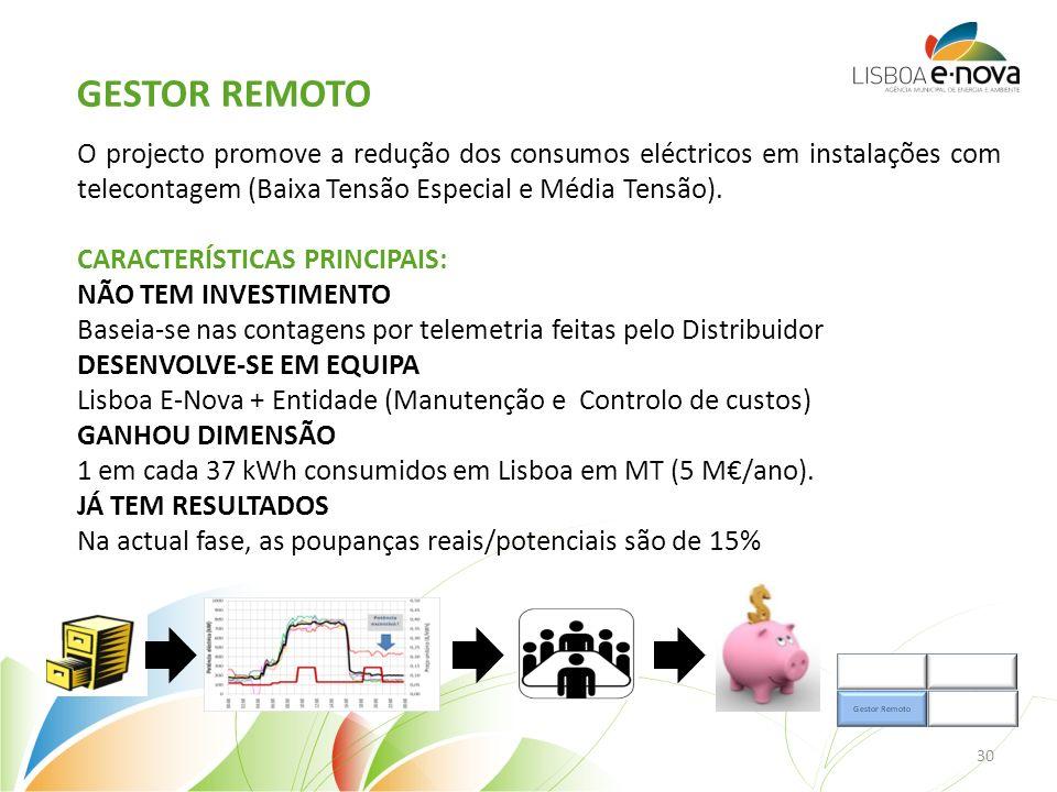O projecto promove a redução dos consumos eléctricos em instalações com telecontagem (Baixa Tensão Especial e Média Tensão).