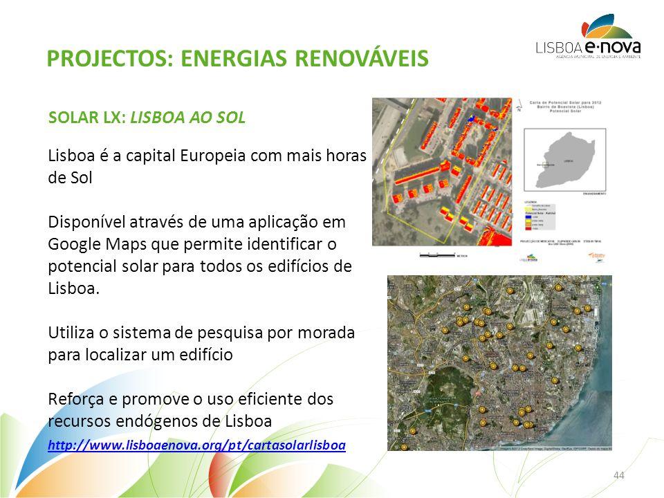 SOLAR LX: LISBOA AO SOL Lisboa é a capital Europeia com mais horas de Sol Disponível através de uma aplicação em Google Maps que permite identificar o potencial solar para todos os edifícios de Lisboa.