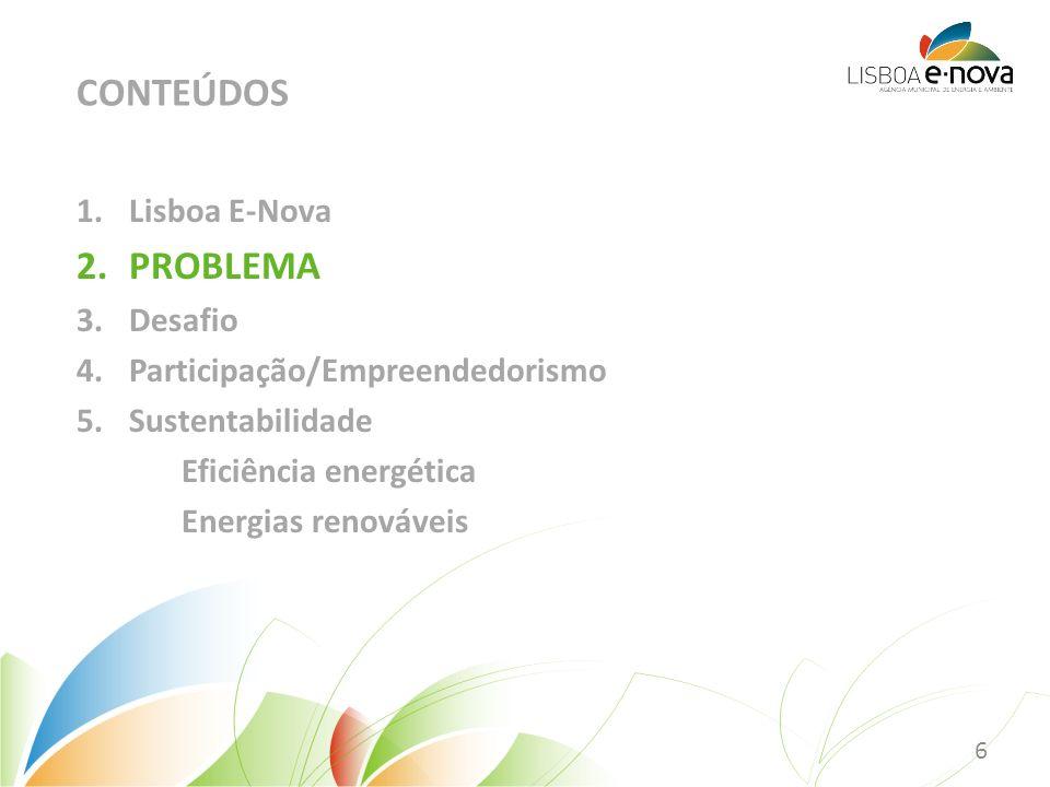 1.Lisboa E-Nova 2.PROBLEMA 3.Desafio 4.Participação/Empreendedorismo 5.Sustentabilidade Eficiência energética Energias renováveis CONTEÚDOS 6