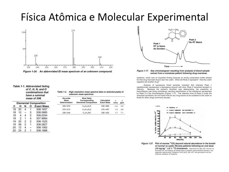 Física Atômica e Molecular Experimental fótons Linha de feixe = sistema de vacuo + sistema de deteção + sistema de processamento + técnica TOF/MS, XAFS, NEXAFS, XPS Sistema de colisão : fóton + átomo ou molécula Lista lateral e superior