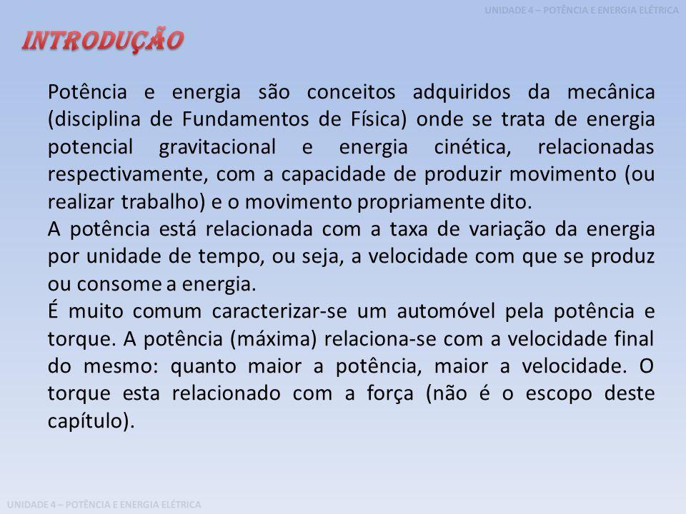 UNIDADE 4 – POTÊNCIA E ENERGIA ELÉTRICA Potência e energia são conceitos adquiridos da mecânica (disciplina de Fundamentos de Física) onde se trata de