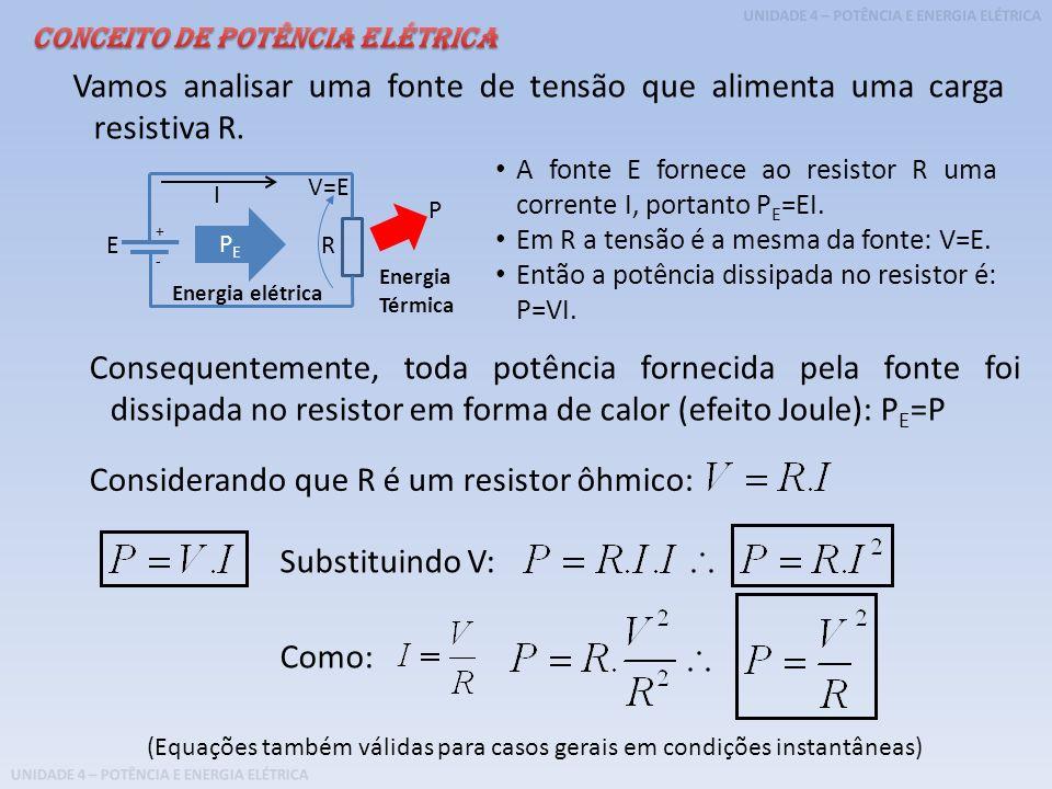 UNIDADE 4 – POTÊNCIA E ENERGIA ELÉTRICA Exemplo: Uma fonte de tensão de 12 V fornece uma corrente de 20 mA para um circuito que possui um resistor que produz efeito Joule para toda energia fornecida.