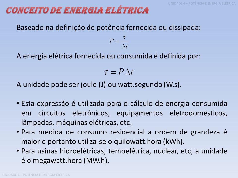 UNIDADE 4 – POTÊNCIA E ENERGIA ELÉTRICA Baseado na definição de potência fornecida ou dissipada: A energia elétrica fornecida ou consumida é definida
