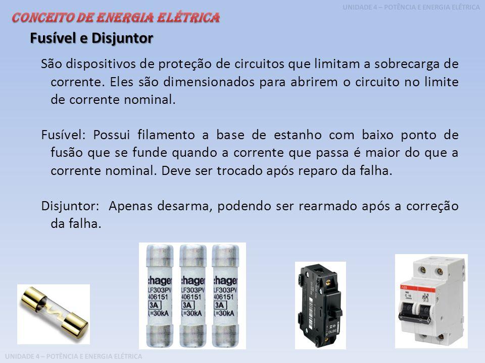 UNIDADE 4 – POTÊNCIA E ENERGIA ELÉTRICA São dispositivos de proteção de circuitos que limitam a sobrecarga de corrente. Eles são dimensionados para ab
