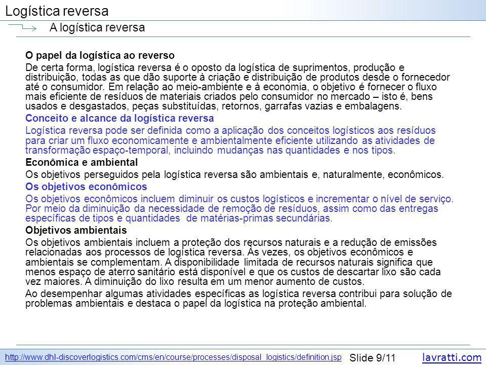 lavratti.com Slide 9/11 Logística reversa A logística reversa http://www.dhl-discoverlogistics.com/cms/en/course/processes/disposal_logistics/definiti