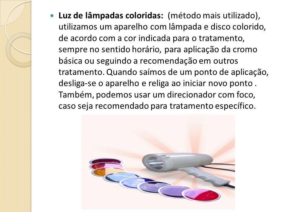 Luz de lâmpadas coloridas: (método mais utilizado), utilizamos um aparelho com lâmpada e disco colorido, de acordo com a cor indicada para o tratament