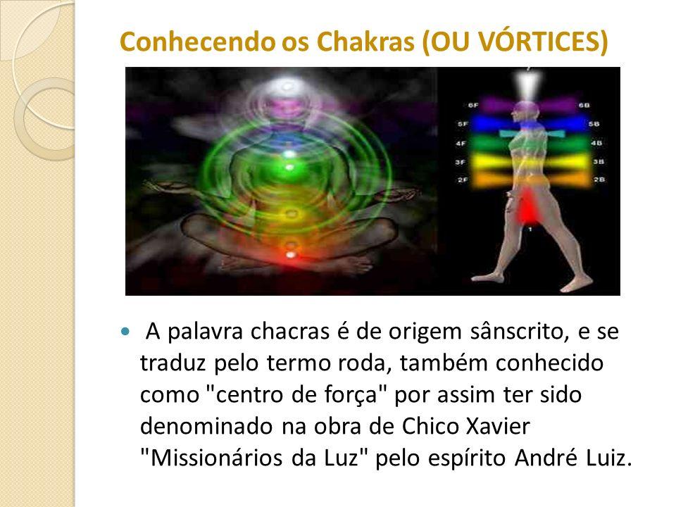 Conhecendo os Chakras (OU VÓRTICES) A palavra chacras é de origem sânscrito, e se traduz pelo termo roda, também conhecido como