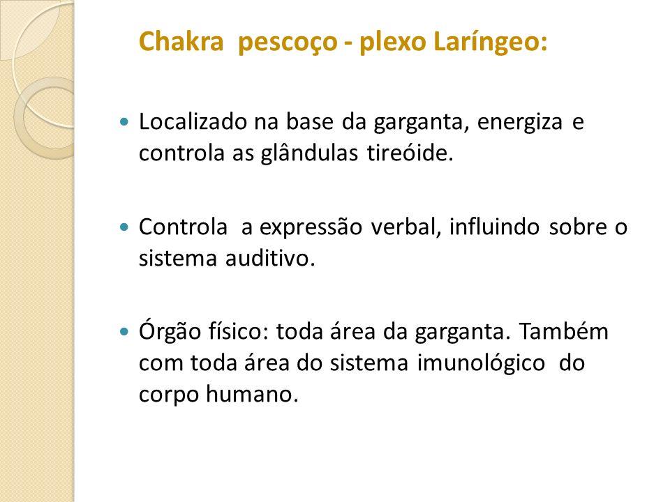Chakra pescoço - plexo Laríngeo: Localizado na base da garganta, energiza e controla as glândulas tireóide. Controla a expressão verbal, influindo sob