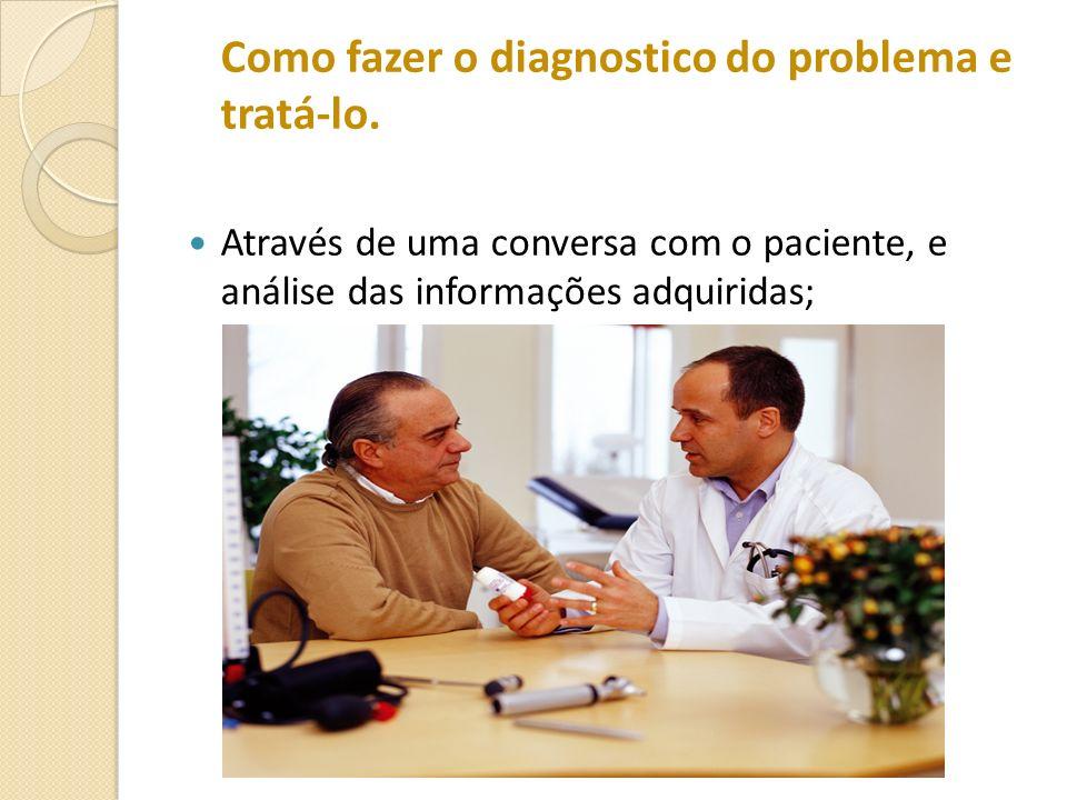 Como fazer o diagnostico do problema e tratá-lo. Através de uma conversa com o paciente, e análise das informações adquiridas;