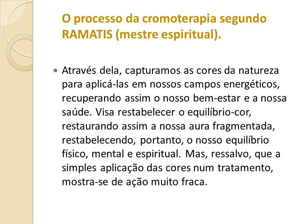 O processo da cromoterapia segundo RAMATIS (mestre espiritual). Através dela, capturamos as cores da natureza para aplicá-las em nossos campos energét