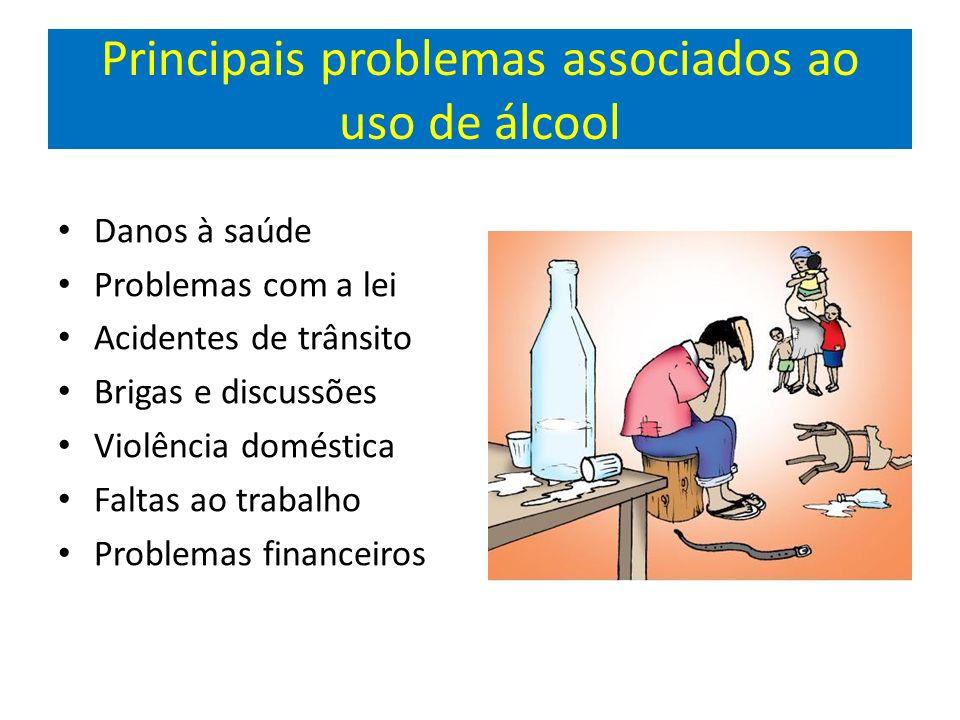 Principais problemas associados ao uso de álcool Danos à saúde Problemas com a lei Acidentes de trânsito Brigas e discussões Violência doméstica Faltas ao trabalho Problemas financeiros