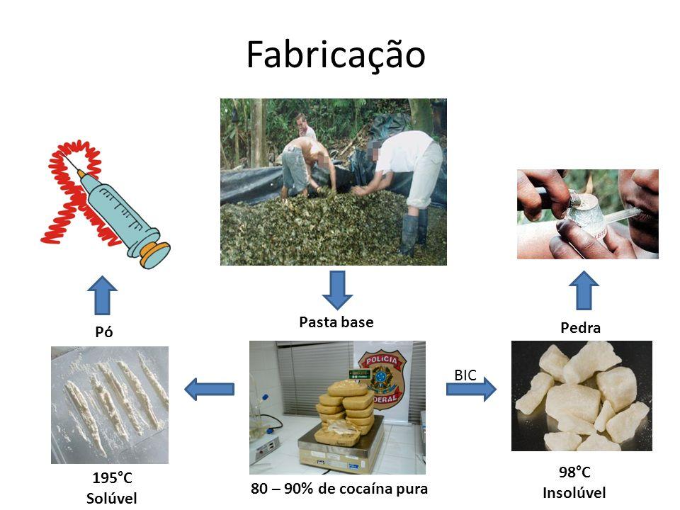 80 – 90% de cocaína pura 98°C Insolúvel 195°C Solúvel Fabricação BIC Pasta base Pó Pedra