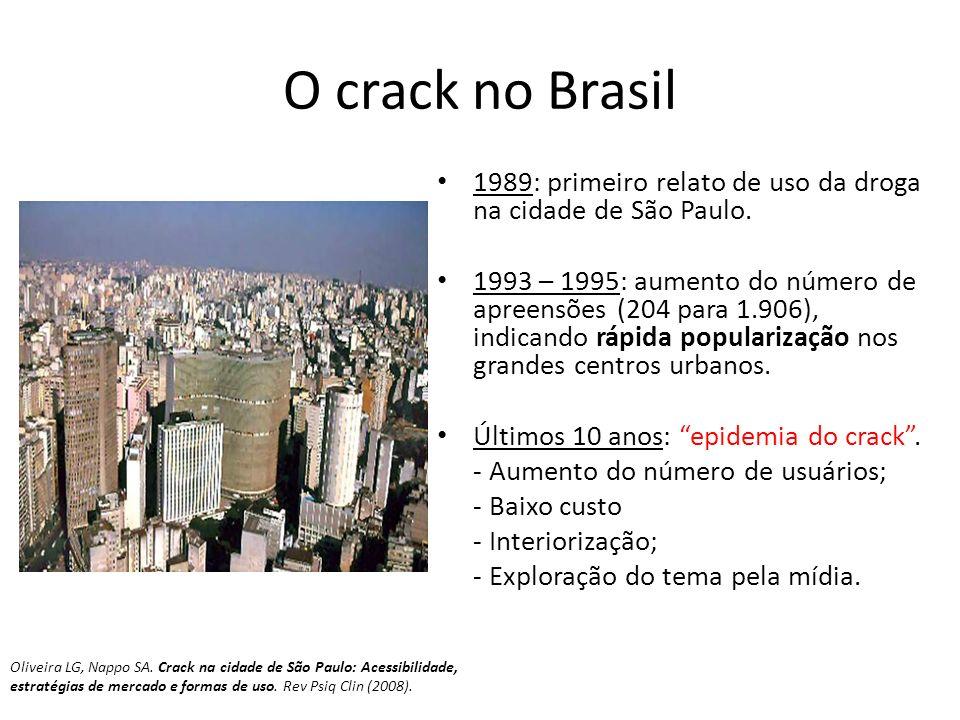 O crack no Brasil 1989: primeiro relato de uso da droga na cidade de São Paulo. 1993 – 1995: aumento do número de apreensões (204 para 1.906), indican