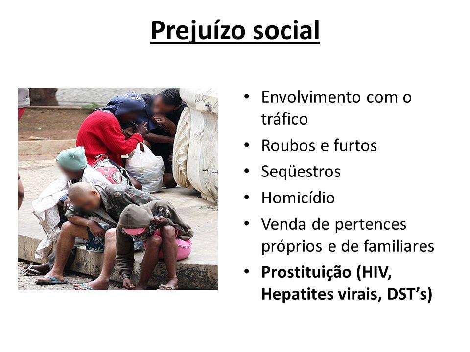 Prejuízo social Envolvimento com o tráfico Roubos e furtos Seqüestros Homicídio Venda de pertences próprios e de familiares Prostituição (HIV, Hepatites virais, DSTs)