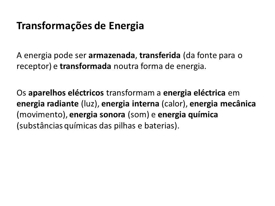Transformações de Energia A energia pode ser armazenada, transferida (da fonte para o receptor) e transformada noutra forma de energia.