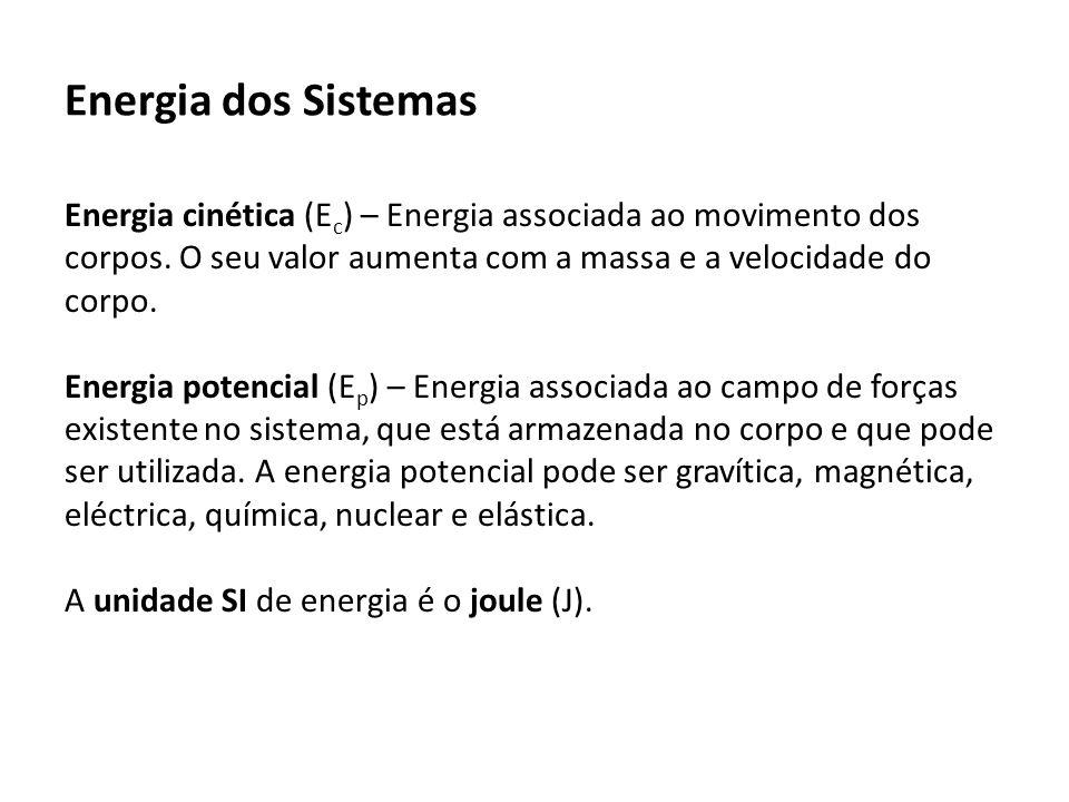 Energia dos Sistemas Energia cinética (E c ) – Energia associada ao movimento dos corpos.