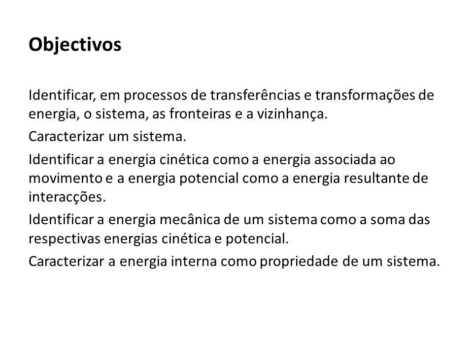 Objectivos Identificar trabalho e calor como quantidades de energia transferidas entre sistemas.
