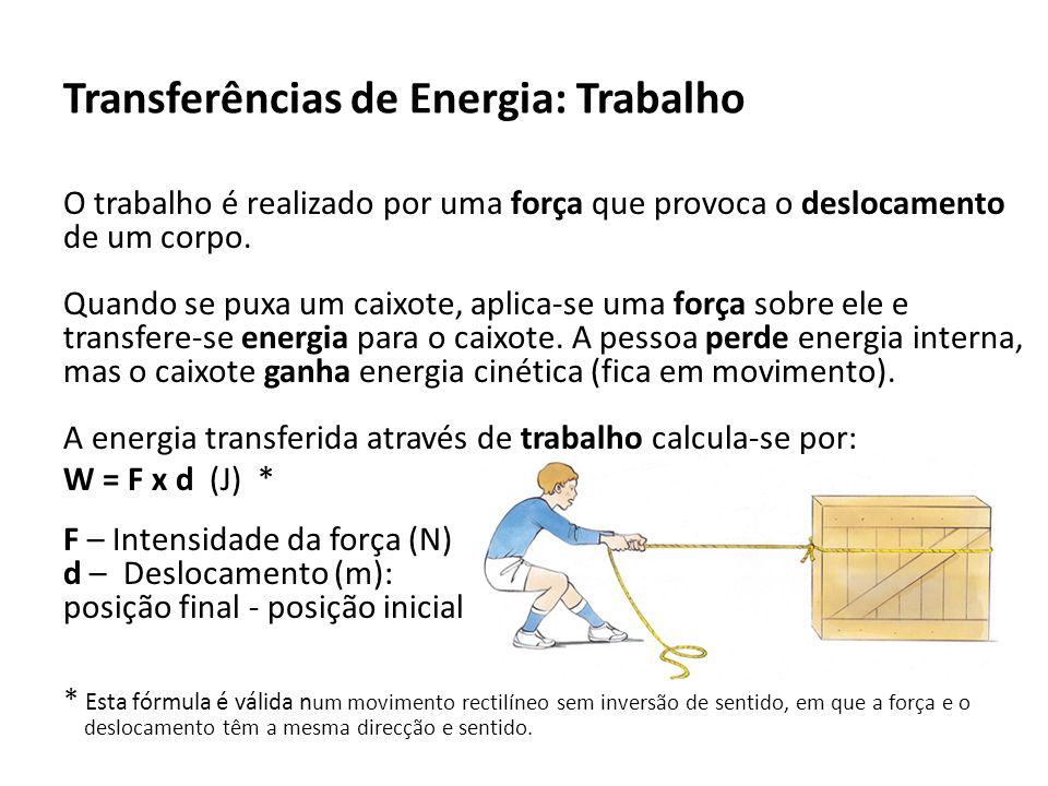Transferências de Energia: Trabalho O trabalho é realizado por uma força que provoca o deslocamento de um corpo.