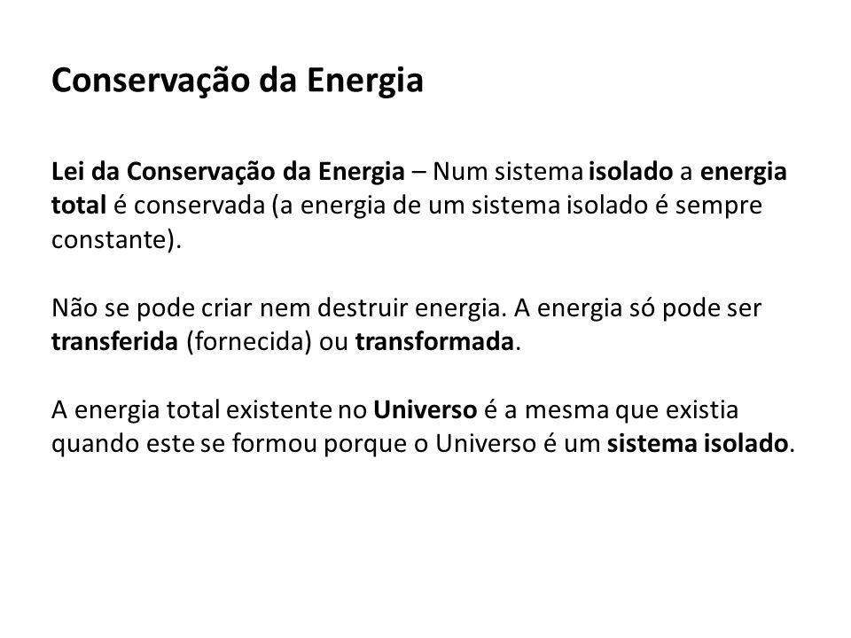 Conservação da Energia Lei da Conservação da Energia – Num sistema isolado a energia total é conservada (a energia de um sistema isolado é sempre constante).