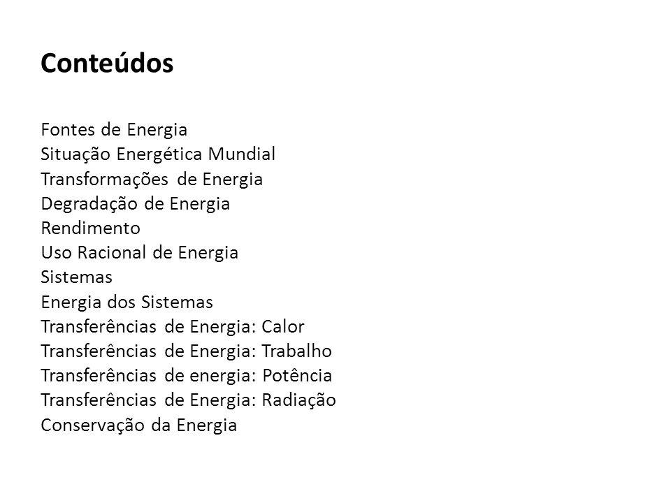 Conteúdos Fontes de Energia Situação Energética Mundial Transformações de Energia Degradação de Energia Rendimento Uso Racional de Energia Sistemas Energia dos Sistemas Transferências de Energia: Calor Transferências de Energia: Trabalho Transferências de energia: Potência Transferências de Energia: Radiação Conservação da Energia
