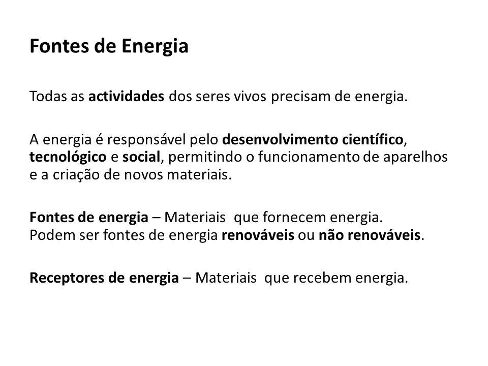 Fontes de Energia Fontes de energia renováveis – Não se esgotam (são ilimitadas), porque estão sempre a ser produzidas pela natureza: Sol, vento, água, marés, ondas do mar, biomassa, biogás e calor do interior da Terra.