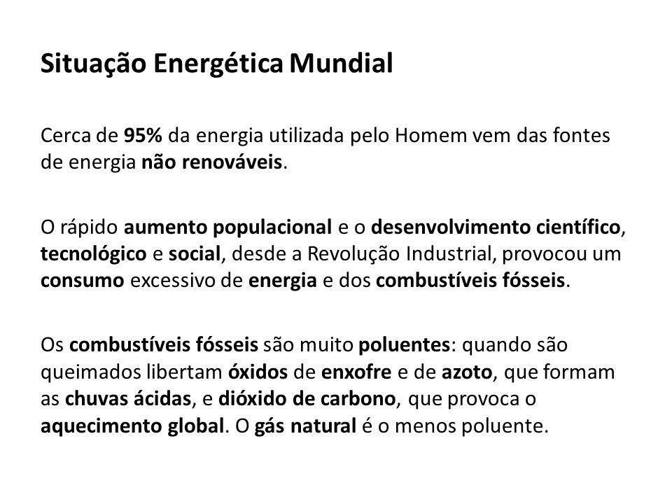 Situação Energética Mundial Cerca de 95% da energia utilizada pelo Homem vem das fontes de energia não renováveis.