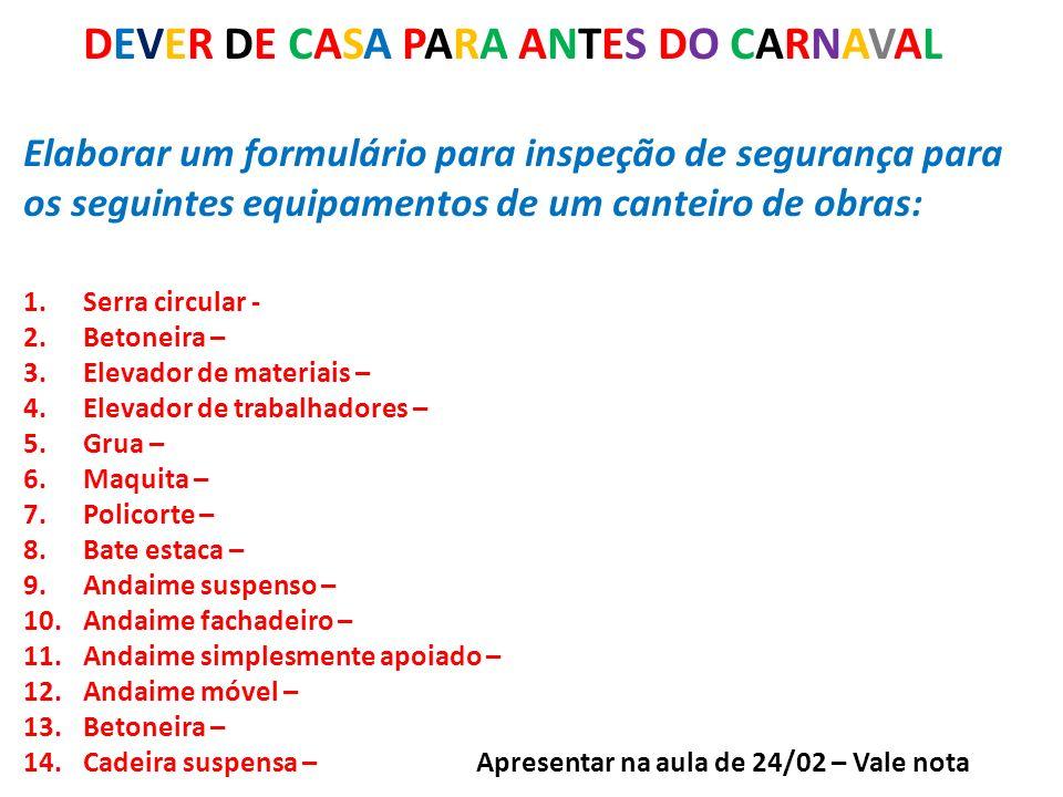 DEVER DE CASA PARA ANTES DO CARNAVAL Elaborar um formulário para inspeção de segurança para os seguintes equipamentos de um canteiro de obras: 1.Serra