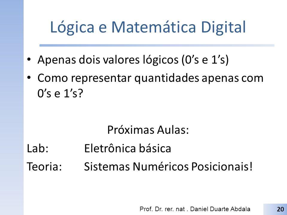 Lógica e Matemática Digital Apenas dois valores lógicos (0s e 1s) Como representar quantidades apenas com 0s e 1s? Próximas Aulas: Lab:Eletrônica bási