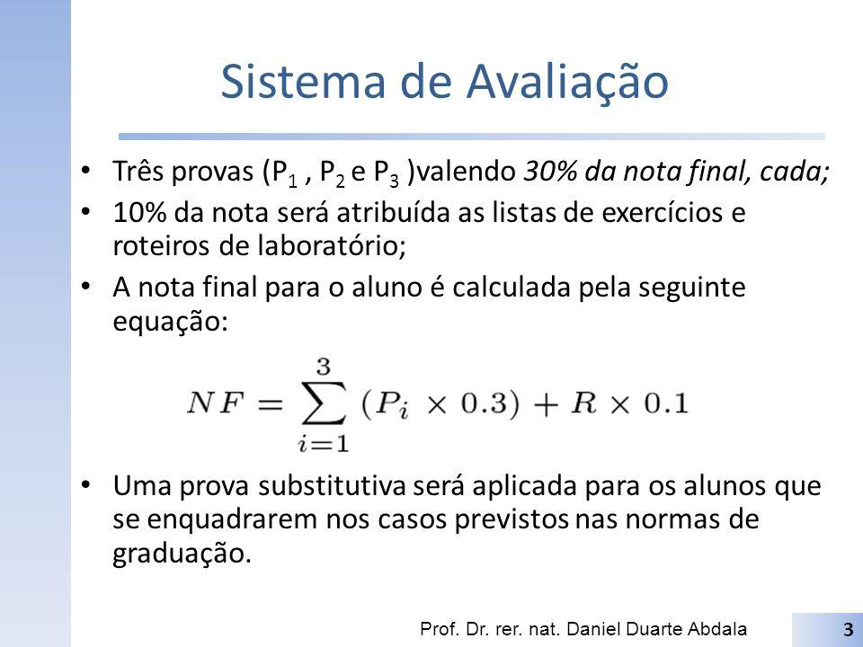 Sistema de Avaliação Três provas (P 1, P 2 e P 3 )valendo 30% da nota final, cada; 10% da nota será atribuída as listas de exercícios e roteiros de la