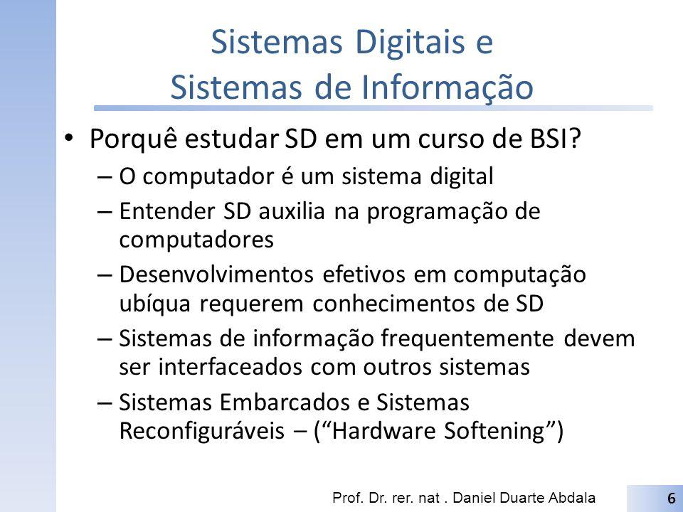 Sistemas Digitais e Sistemas de Informação Porquê estudar SD em um curso de BSI? – O computador é um sistema digital – Entender SD auxilia na programa