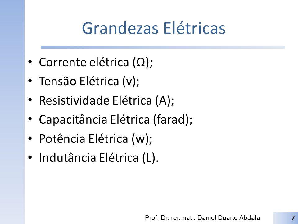 Grandezas Elétricas Corrente elétrica (Ω); Tensão Elétrica (v); Resistividade Elétrica (A); Capacitância Elétrica (farad); Potência Elétrica (w); Indutância Elétrica (L).