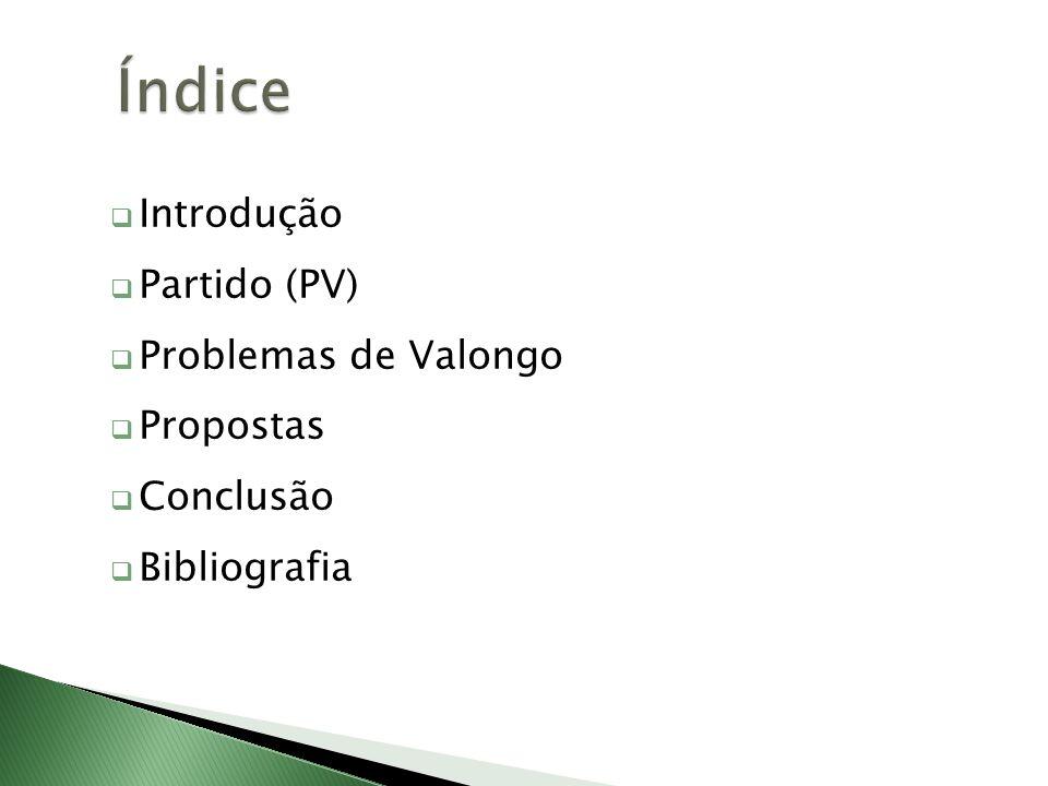 Introdução Partido (PV) Problemas de Valongo Propostas Conclusão Bibliografia