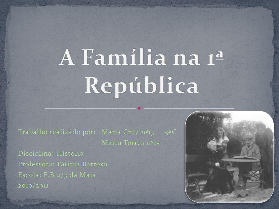 Com este trabalho, pretendemos dar a conhecer aos nossos colegas como era a família portuguesa durante a 1ª República, nomeadamente as suas características, as suas condições de vida e as novidades que vieram a facilitar a vida das famílias.