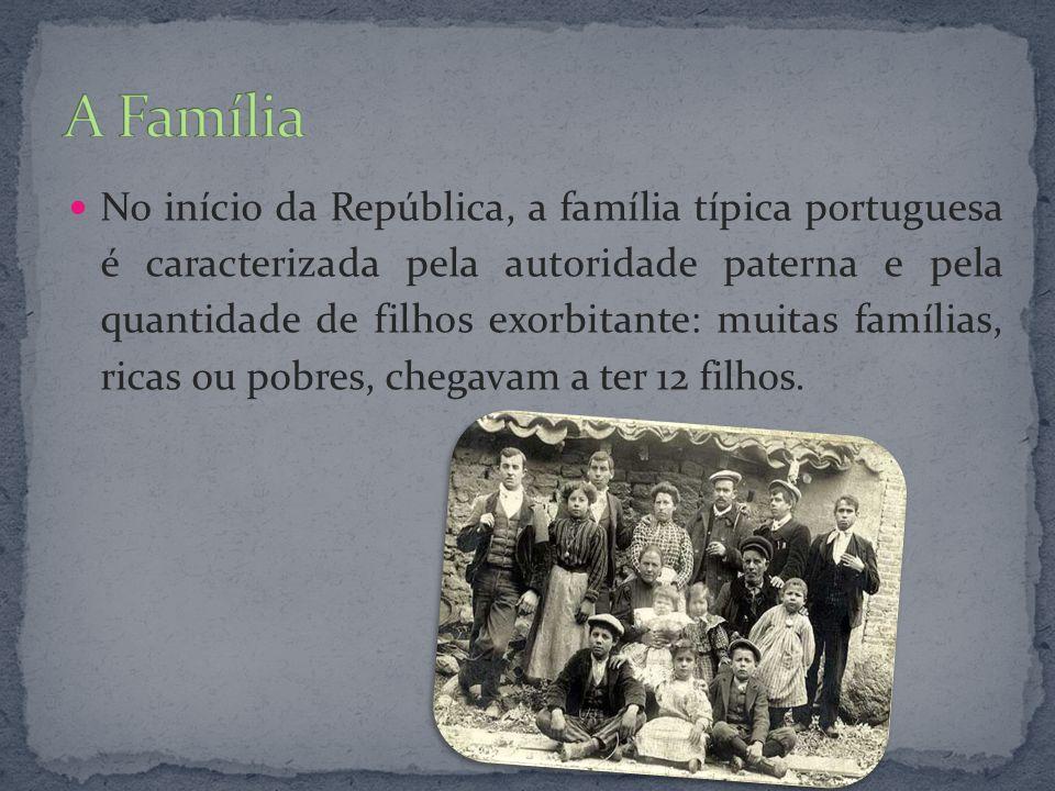 No início da República, a família típica portuguesa é caracterizada pela autoridade paterna e pela quantidade de filhos exorbitante: muitas famílias,