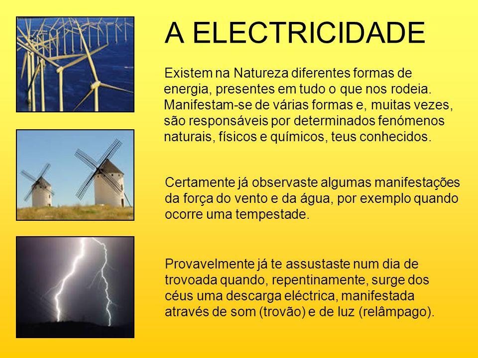 A ELECTRICIDADE Existem na Natureza diferentes formas de energia, presentes em tudo o que nos rodeia. Manifestam-se de várias formas e, muitas vezes,