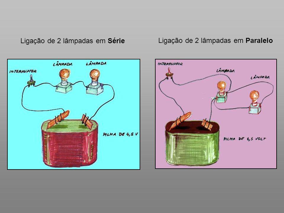 Ligação de 2 lâmpadas em Série Ligação de 2 lâmpadas em Paralelo