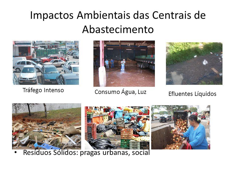 Impactos Ambientais das Centrais de Abastecimento Resíduos Sólidos: pragas urbanas, social Tráfego Intenso Consumo Água, Luz Efluentes Líquidos