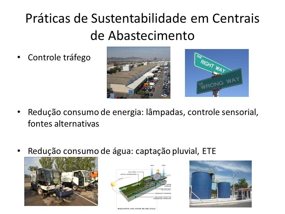 Práticas de Sustentabilidade em Centrais de Abastecimento Controle tráfego Redução consumo de energia: lâmpadas, controle sensorial, fontes alternativas Redução consumo de água: captação pluvial, ETE