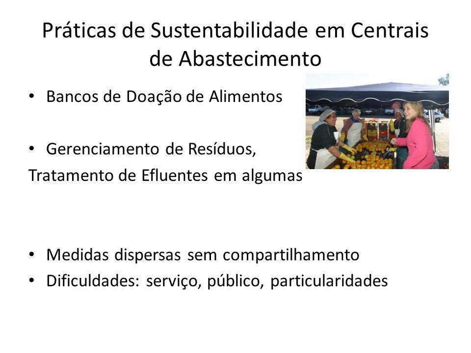 Práticas de Sustentabilidade em Centrais de Abastecimento Bancos de Doação de Alimentos Gerenciamento de Resíduos, Tratamento de Efluentes em algumas Medidas dispersas sem compartilhamento Dificuldades: serviço, público, particularidades
