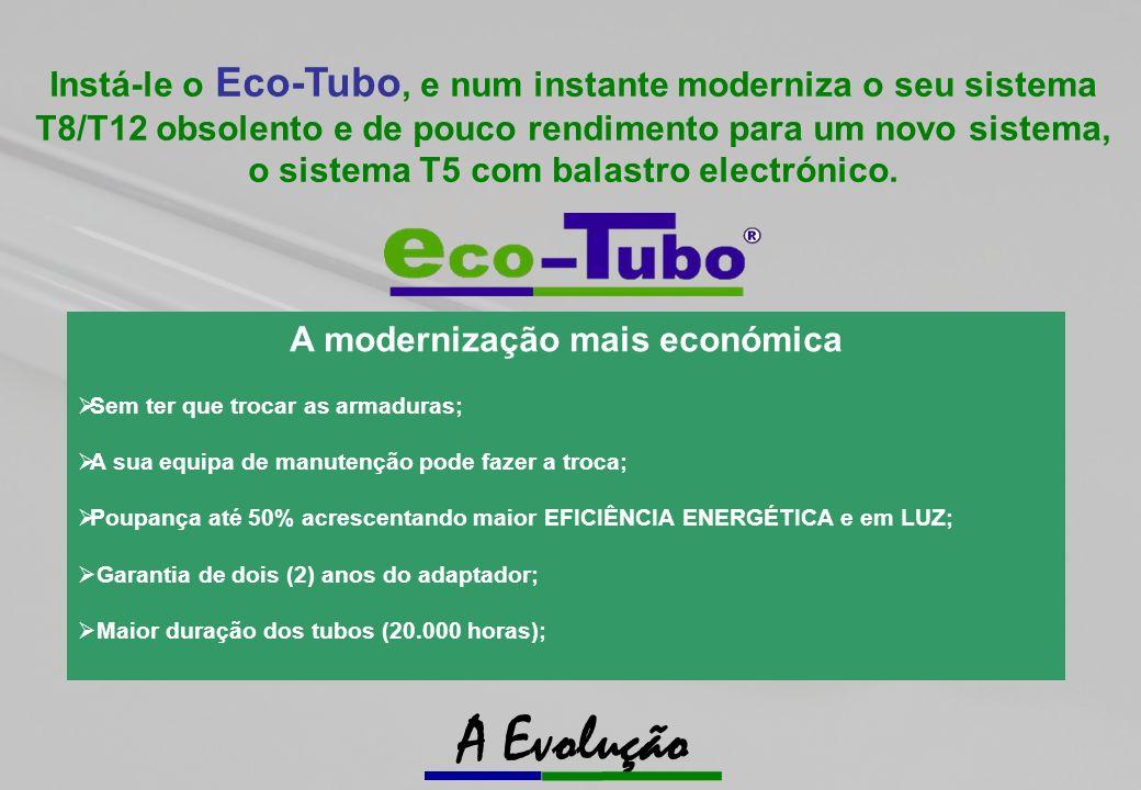 Instá-le o Eco-Tubo, e num instante moderniza o seu sistema T8/T12 obsolento e de pouco rendimento para um novo sistema, o sistema T5 com balastro electrónico.