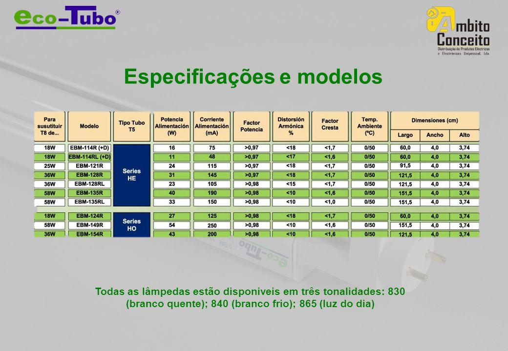 Especificações e modelos Todas as lâmpedas estão disponiveis em três tonalidades: 830 (branco quente); 840 (branco frio); 865 (luz do dia)