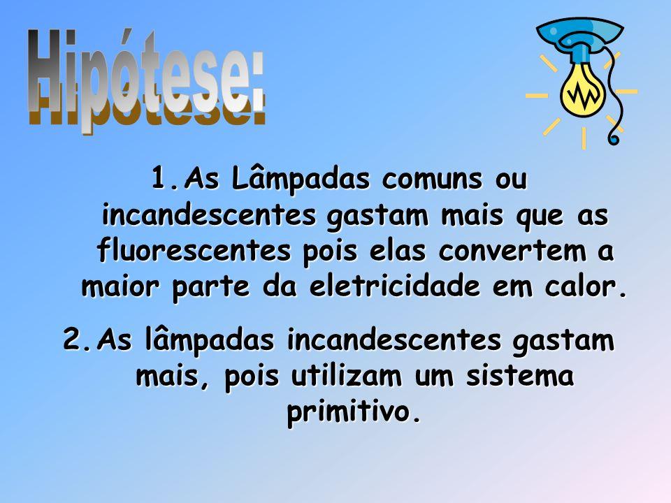 1.A s Lâmpadas comuns ou incandescentes gastam mais que as fluorescentes pois elas convertem a maior parte da eletricidade em calor. 2.A s lâmpadas in