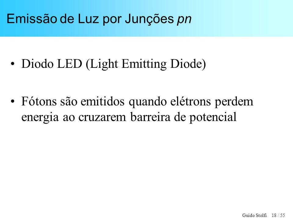Guido Stolfi 18 / 55 Emissão de Luz por Junções pn Diodo LED (Light Emitting Diode) Fótons são emitidos quando elétrons perdem energia ao cruzarem barreira de potencial