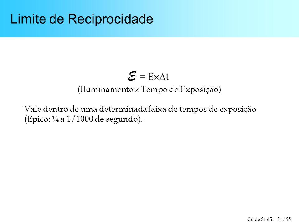 Guido Stolfi 51 / 55 Limite de Reciprocidade E = E t (Iluminamento Tempo de Exposição) Vale dentro de uma determinada faixa de tempos de exposição (típico: ¼ a 1/1000 de segundo).