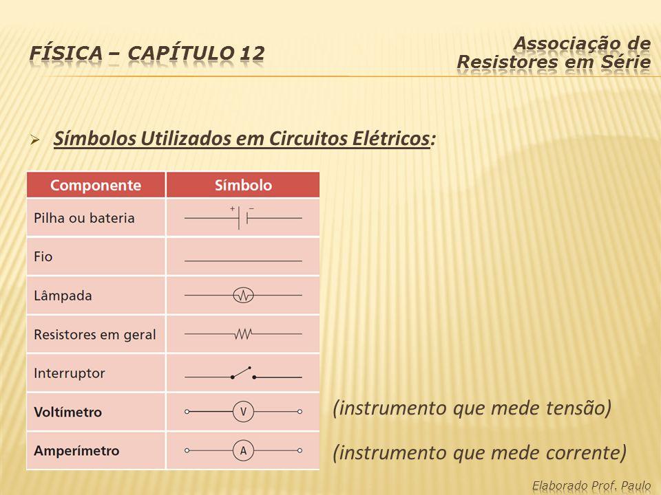 Símbolos Utilizados em Circuitos Elétricos: (instrumento que mede tensão) (instrumento que mede corrente)