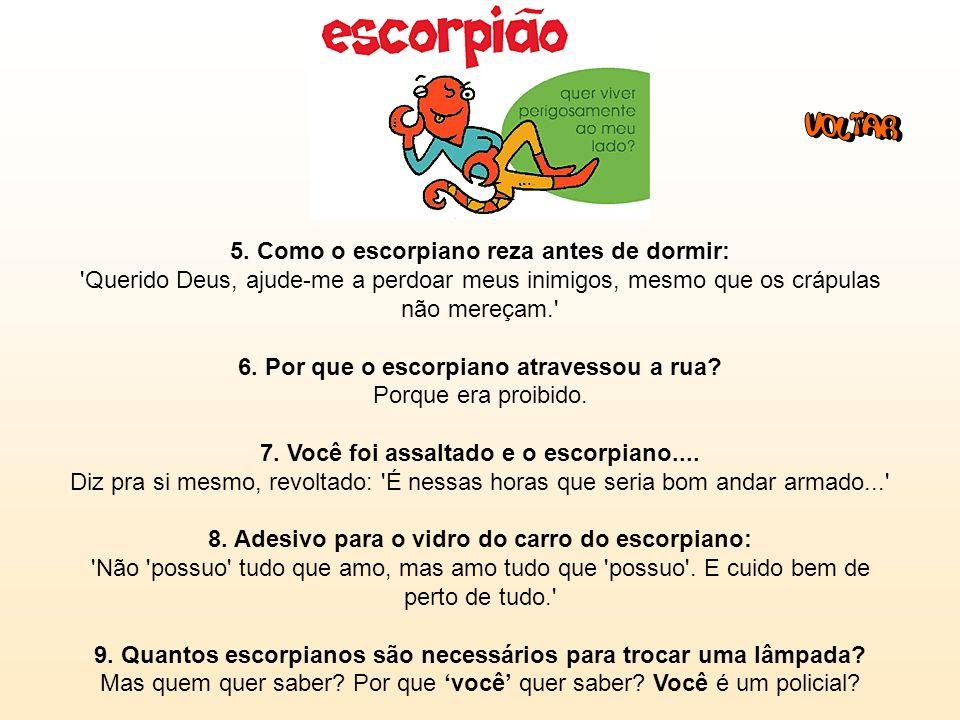 Escorpião (23/10 - 21/11): 1. Frase: 'Sou super LIBERAL... mas onde é que você foi MESMO?' 2. O que o escorpiano espera de seu parceiro: Deseja mistur