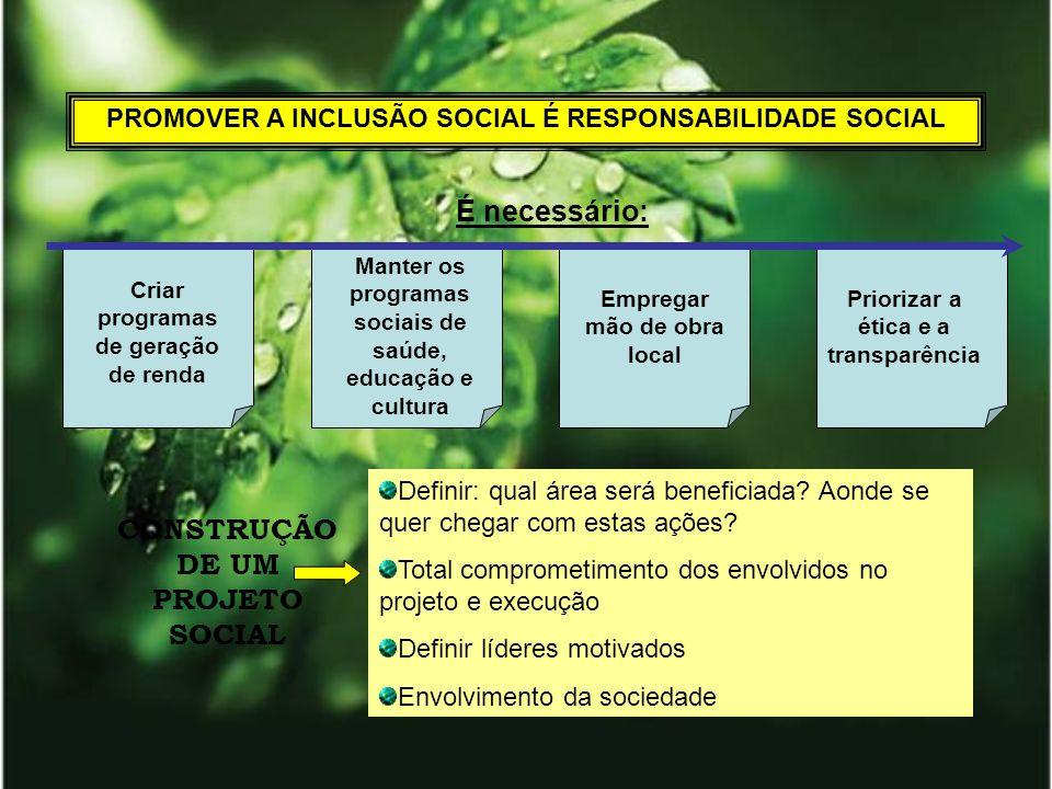 PROMOVER A INCLUSÃO SOCIAL É RESPONSABILIDADE SOCIAL É necessário: Criar programas de geração de renda Empregar mão de obra local Priorizar a ética e