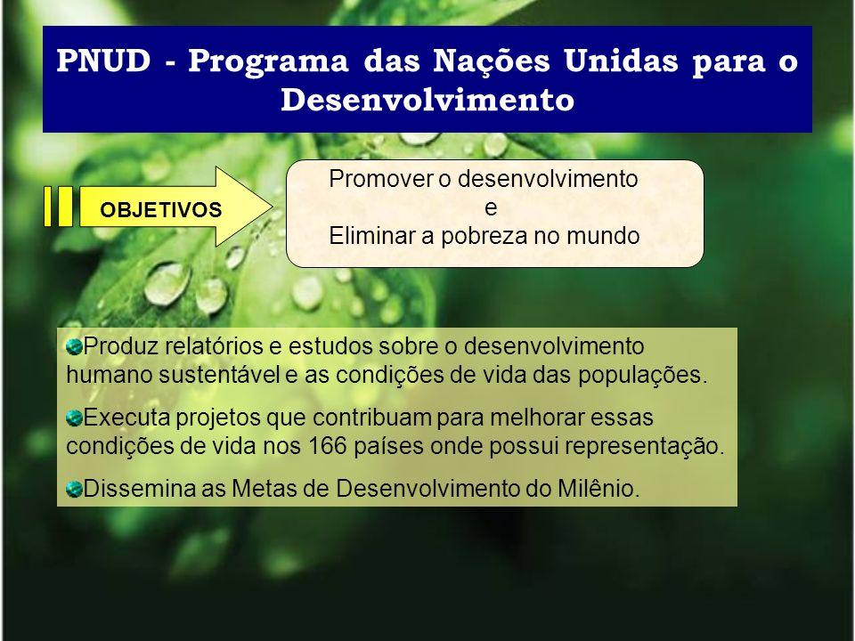 PNUD - Programa das Nações Unidas para o Desenvolvimento Promover o desenvolvimento e Eliminar a pobreza no mundo OBJETIVOS Produz relatórios e estudo