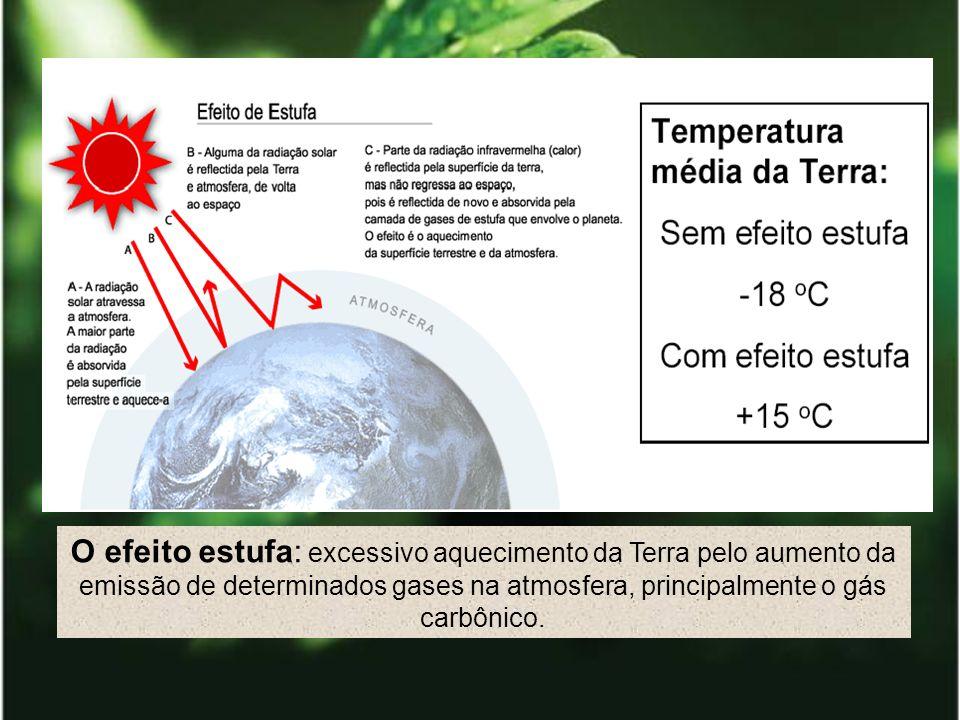 O efeito estufa: excessivo aquecimento da Terra pelo aumento da emissão de determinados gases na atmosfera, principalmente o gás carbônico.